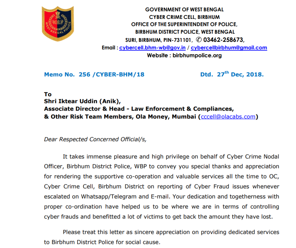 Appreciation-Mail From West Bengal Cyber Crime Department