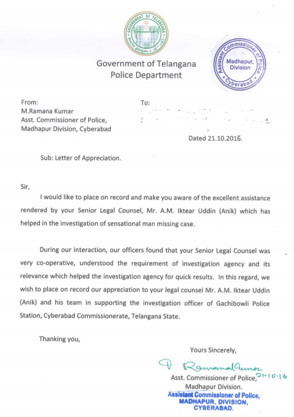 appreciations-Telangana Police Department